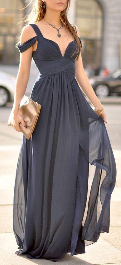 Gray off the shoulder bridesmaid dress via Lulu.