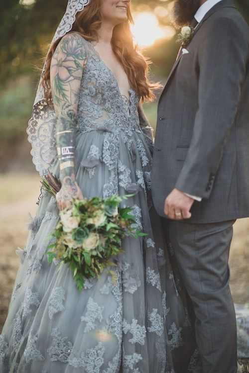 Jaw-dropping gray wedding dress for a Northern California rustic wedding.
