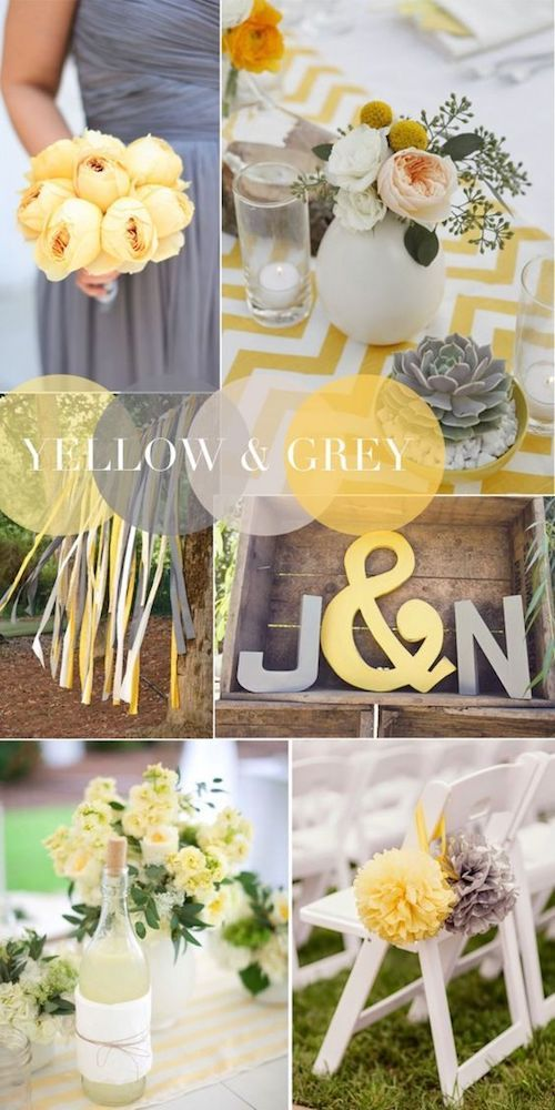 Add some energy to your gray wedding with vibrant pops of yellow.