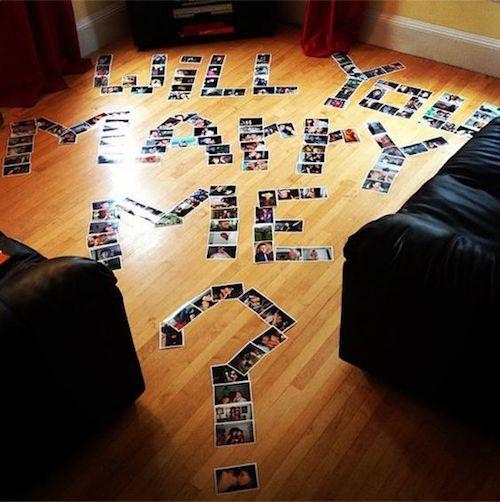 """33+ maneras creativas de decir """"Cásate conmigo"""". Fotos de los dos en el piso de tu hogar. Sorprendente, ¿no?"""