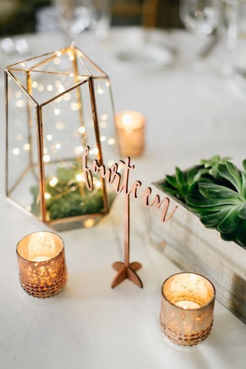 Modern copper centerpiece.