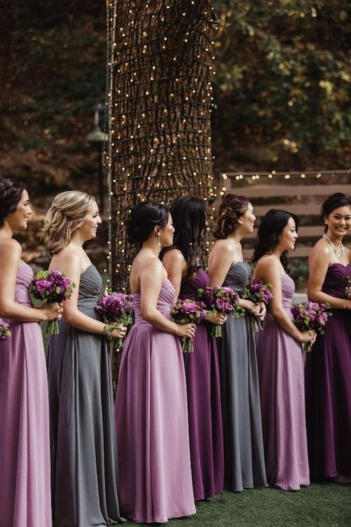 Spectacular purple and gray color combo. Azazie bridesmaid dresses.