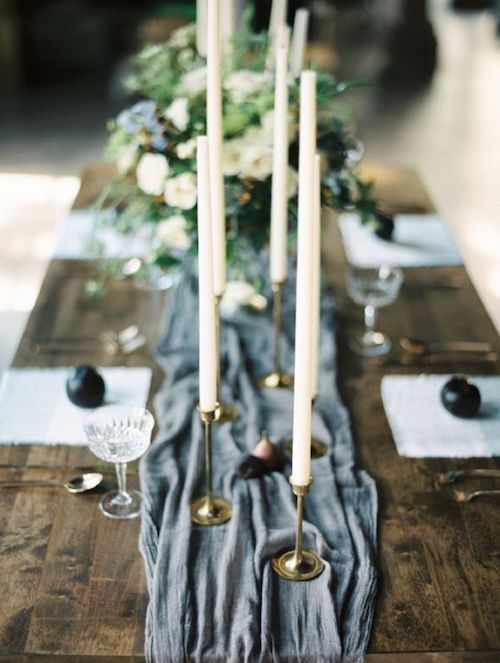 Soft flowy and oh-so-romantic gray wedding runner for a glam boho reception.