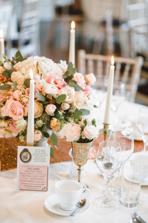 Romantic soft blush centerpieces. Photography: Thomas William/BYW @thomasw