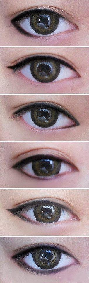 Diferentes tipos de delineado de ojos para lograr estilos diferentes de maquillaje.