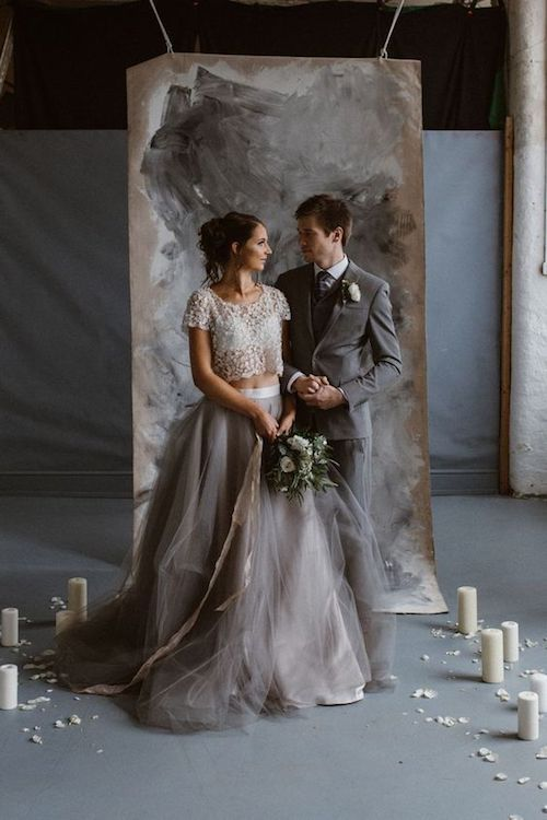 Soft moody gray two piece wedding dresses are right up our alley. Photo: Agnes Black.
