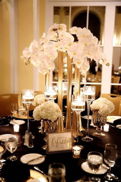 Modern Great Gatsby-styled elevated centerpiece ideas.