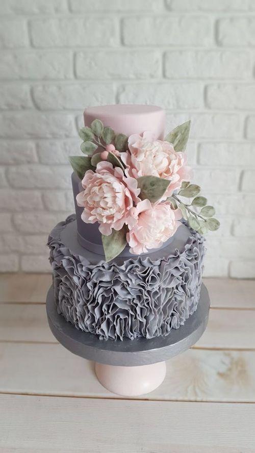 Vintage romantic grey and pink wedding cake.