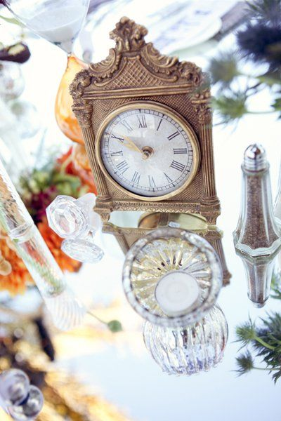 Start scouring antique shops and dollar stores for old clocks and you can end up with the most vintage-inspired centerpieces ever in the history of weddings.