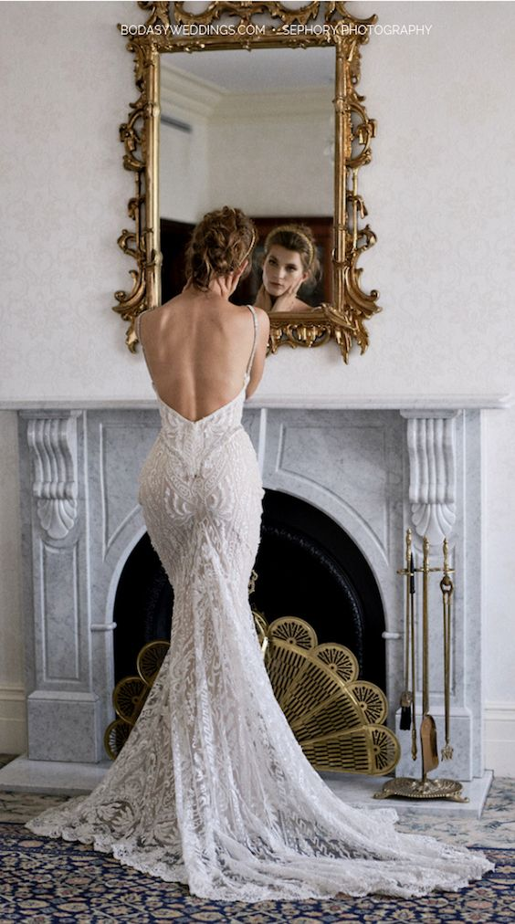 The back of this Galia Lahav dress has me dripping with thirst. Take note of these tips and tricks to relax the morning of your wedding!