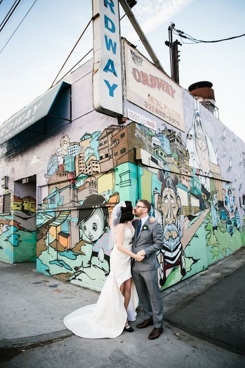 Colorful and hip LA River Studios wedding venue in downtown Los Angeles. Photo: Art and Soul Events.