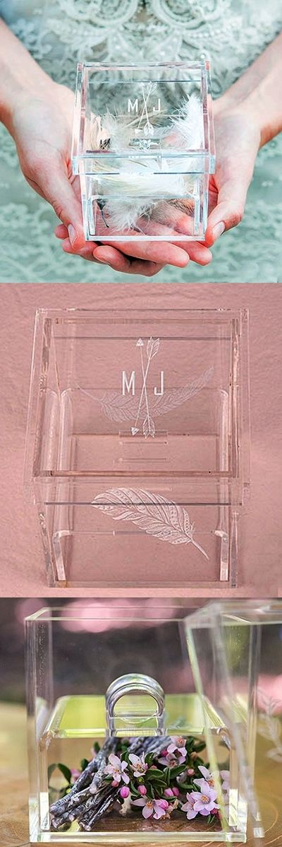 This personalized acrylic ring box can be used by your ring bearer to carry the wedding rings and later on filled with petals as home decor or as an adorable candy box. Via weddingfavorsource.
