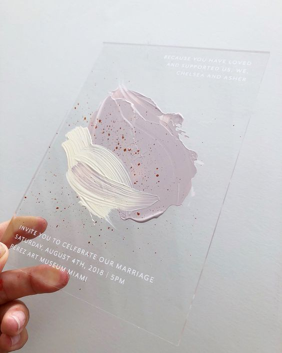Take a look at these acrylic wedding invitations for an immediate association with art. Screen printed enamel ink and hand painted acrylic for a pastel modern Miami art museum wedding. A perfect pairing of invite and venue.