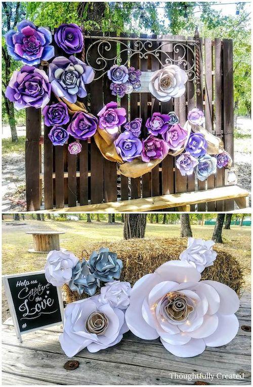 Aprende a hacer flores gigantes en 5 pasos sencillos. Puedes usarlas en tu fondo de photobooth o en tu ceremonia religiosa. Por Abbi Kirsten.