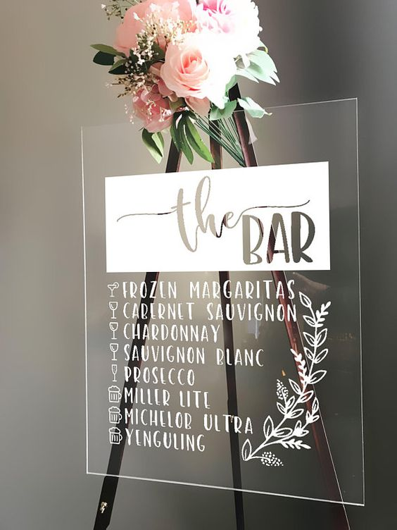 Modern and romantic bar menu sign in acrylic via Etsy from Hastings, Minnesota.