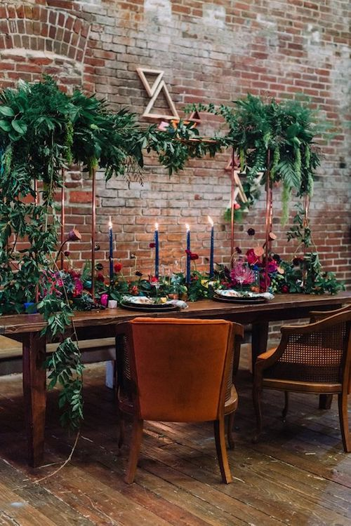 Geometrical shapes, greenery and a boho aesthetic at an urban industrial wedding venue.