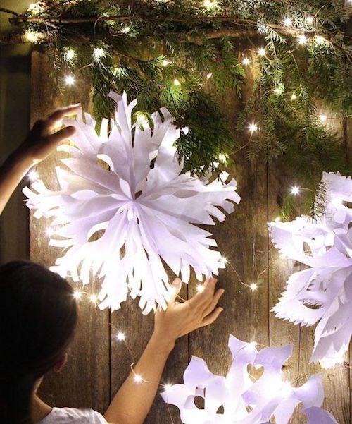 El invierno es una estación tan hermosa. Especialmente si vives en un lugar donde nieva. Si no lo haces, o si la nieve aun no ha llegado este año, estos colgantes gigantes de copos de nieve son una excelente alternativa.
