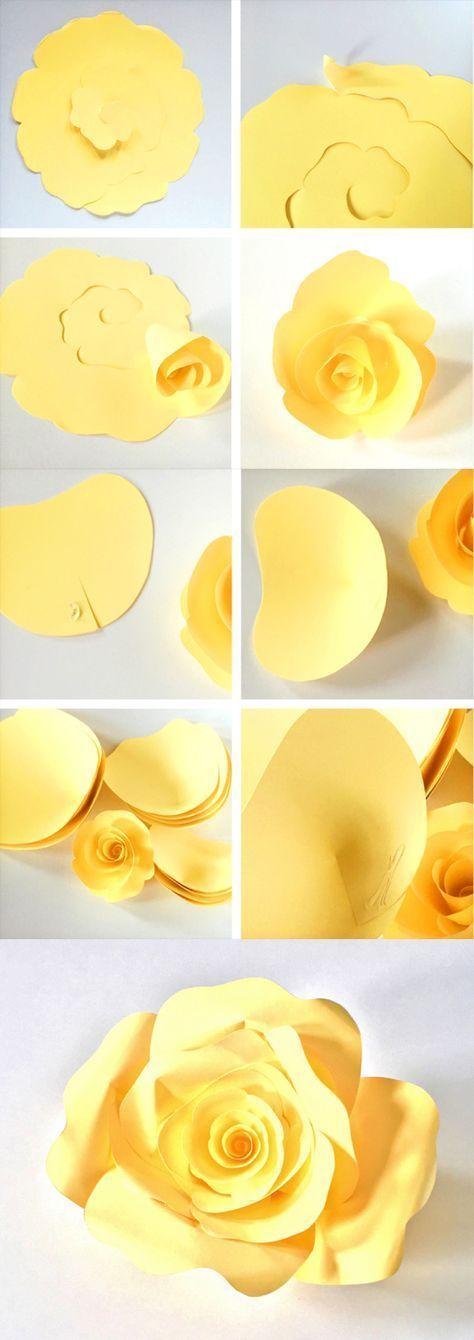 Cómo hacer rosas de papel gigante mezclando técnicas de enrollado y pétalos. Ve los paso a paso en el blog.