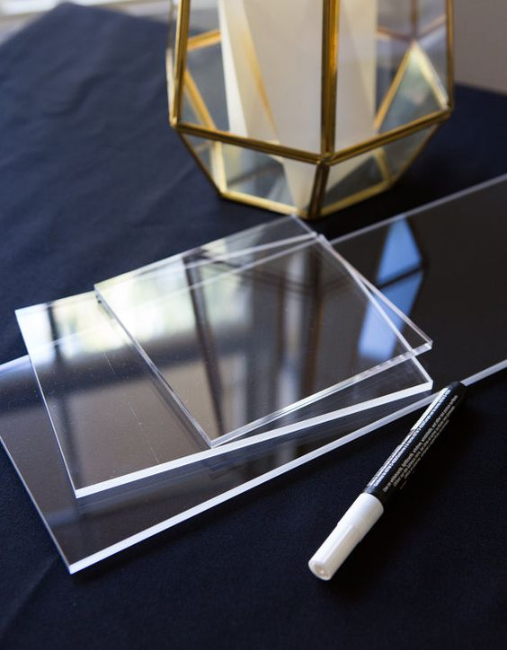 Planning on making your own acrylic wedding decor? You can buy acrylic slabs on Etsy and have them shipped directly to you.
