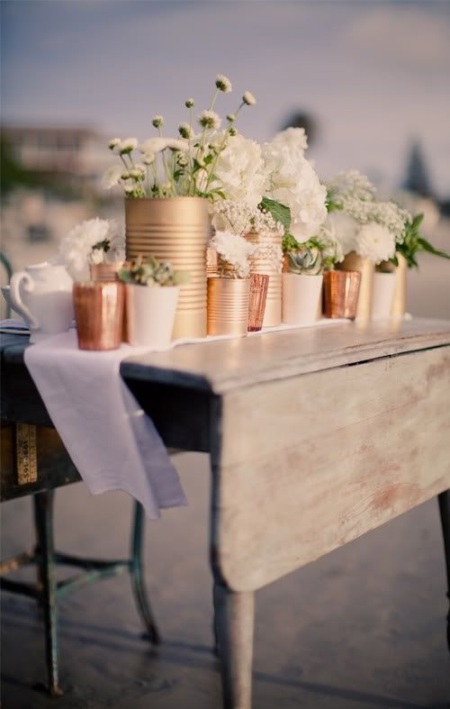 Want a low-budget wedding with all the glam? Get married in a warehouse and DIY your very own copper centerpieces!