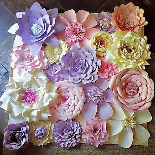Fondo de flores de papel para bodas, fiestas o sesiones de fotos. Hermosa pared de flores de papel hecha a mano de 4x4 pies.