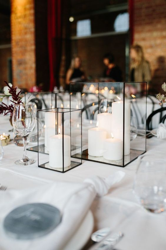 Choose straight and geometric lines for an industrial chic wedding decor. Like these rectangular black lanterns. The Substation in Newport, Melbourne.