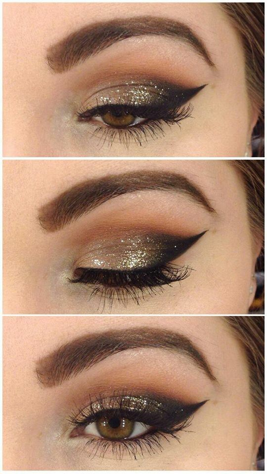 Stunning gold, taupe and brown eye makeup for some evening glam.