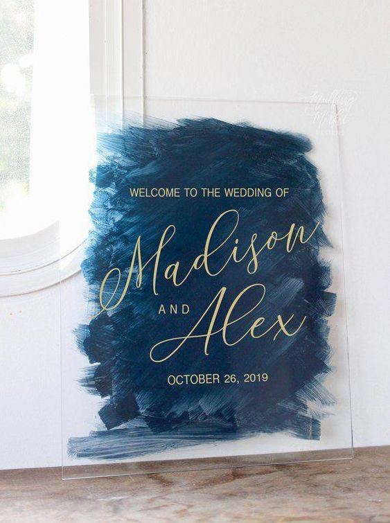 Artistic and awe-inspiring hand painted acrylic wedding welcome sign via Etsy.