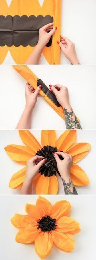 Un kit de Martha Stewart para hacer flores gigantes de papel crepe via the crafted life.