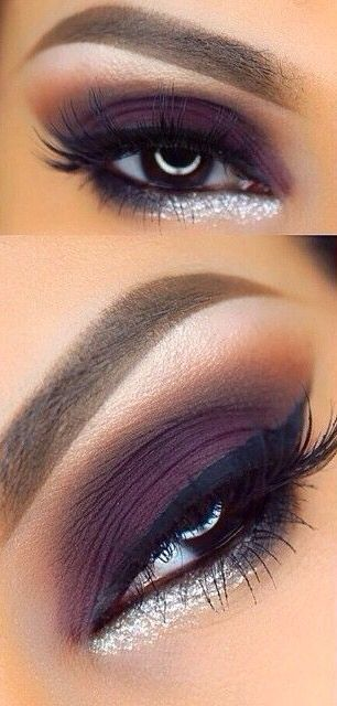 Makeup tips for brown eyes. Make them stand out with violet shadow and a dab of silver eyeliner on your lower eyelid.