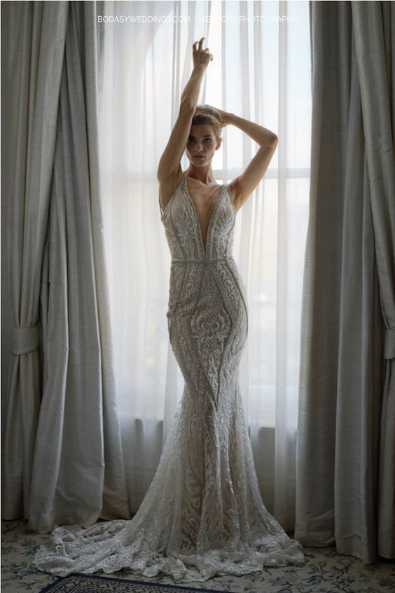 Perfectly body-fitted mermaid gown by Galia Lahav, styled by Eternal Bridal.