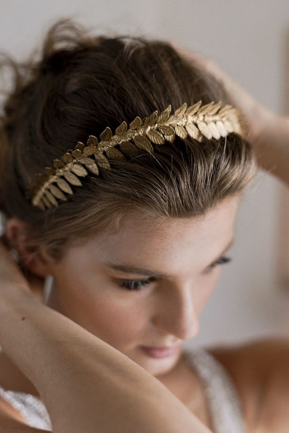 Hair styled in a natural and effortless up-do and crowned with a handmade Grecian inspired headband by no other than the renowned Viktoria Novak. Sephory Photography.