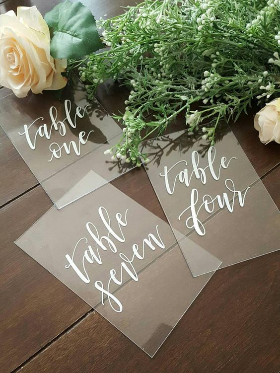 No matter what your wedding style or venue, these new wedding ideas will impress your guests. Plexiglass wedding signs via Etsy in Poughkeepsie, New York.