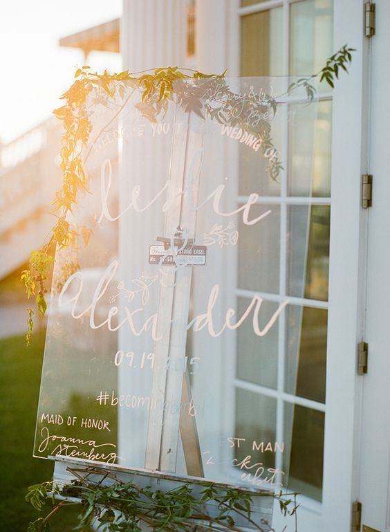 Use permanent marker for an outdoor acrylic welcome sign just in case of bad weather. Feel free to add your hashtag to it. Photography by Lindsay Madden, New Jersey.