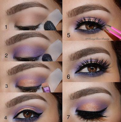 Purple eye makeup for brown eyes.