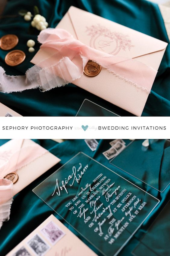 We absolutely adore the details of this soft pink envelope, the seal, the engraved monogram, all the way to the pink ribbon! And clear invitations are onfleek. Sephory Photography.