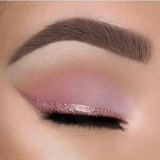 Try soft pink eyeshadow and a pink eyeliner for the most romantic cat eye.
