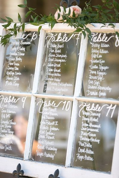 Get a window at your local home improvement store and write your table seat assignments on the glass!