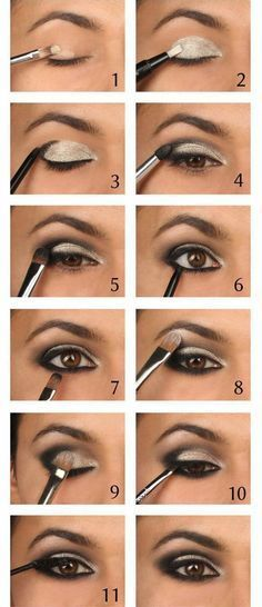 Tutorial for golden makeup for brown eyes.