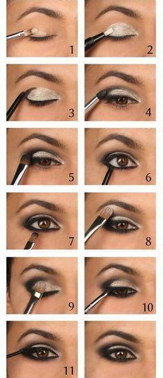 Tutorial for golden makeup for brown eyes.
