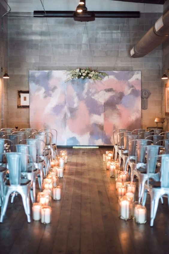 Three-panel hand-painted mural in pastel tones for your urban industrial wedding ceremony background that can be repurposed as home decor. And one of the most woke wedding memories ever.