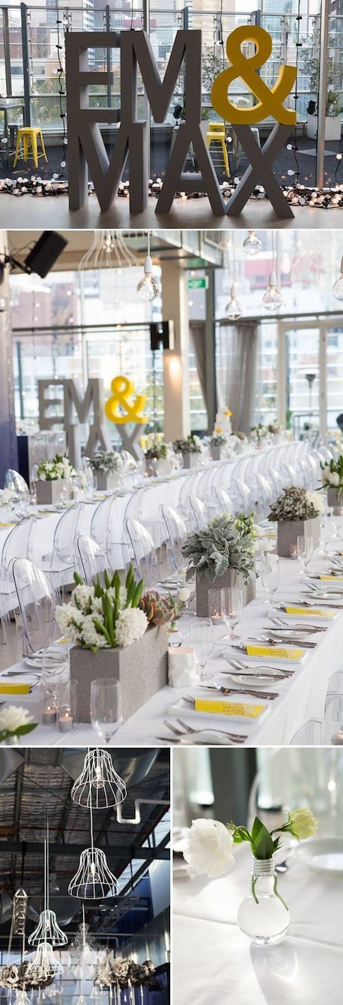 Cement centerpieces, repurposed Edison lightbulbs and two of my fav color combos: yellow and gray. Industrial-chic wedding planned by The Style Co.