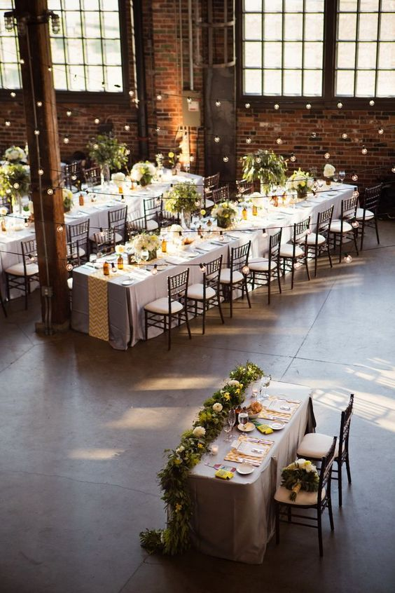 Just a pop of yellow on your industrial wedding decor, and for the upcoming year make it turmeric or aspen gold.