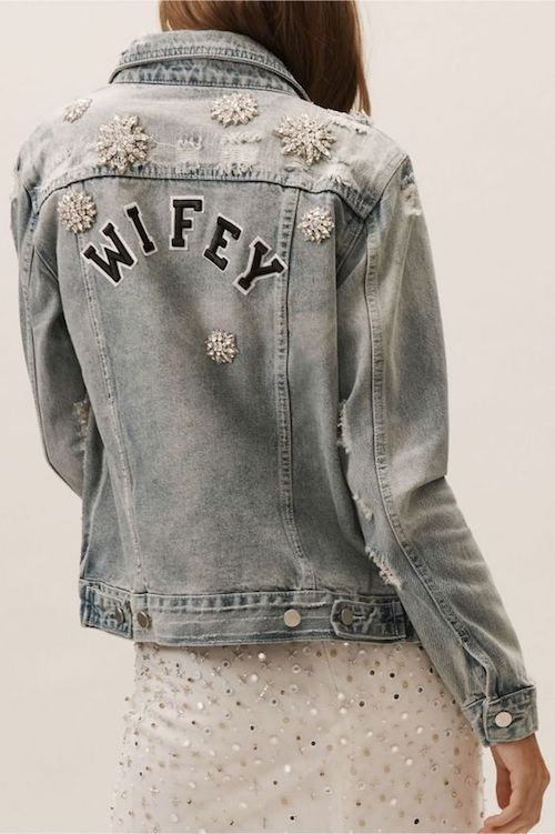Bridal denim jacket with embroidered snow flake. Check out all of these rocking winter wedding ideas!