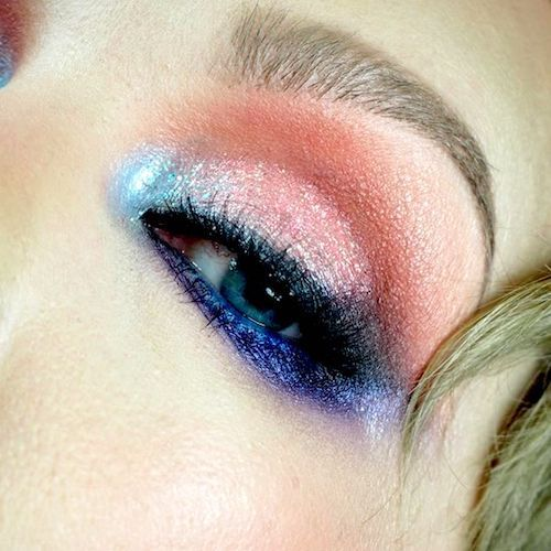 Bridal eye makeup inspiration in pink, coral and shades of blue.
