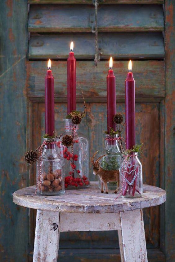 Candles and pinecones always bring memories of winter.
