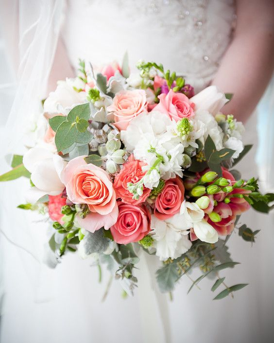 Lovely coral and pink wedding flowers. Spring wedding flower ideas by Blossom & Twine.