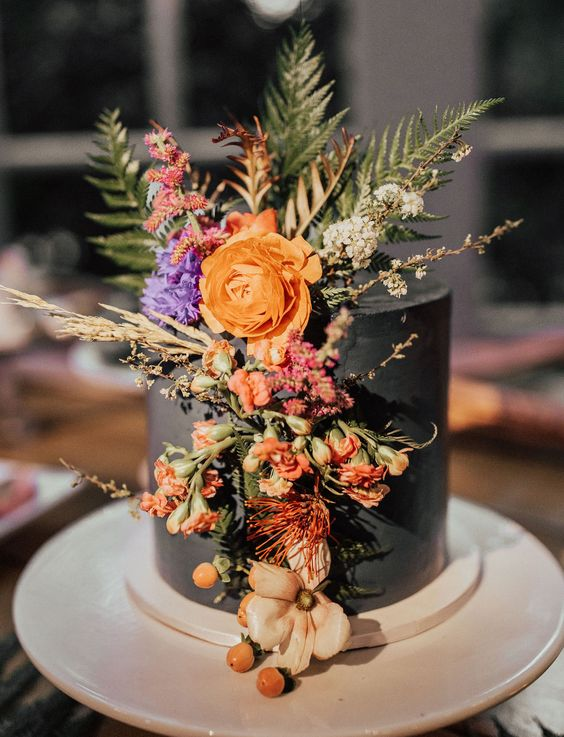 Ferns are replacing eucalyptus branches over cakes this year and this geometrical boho confection is no exception. Malibu, California.