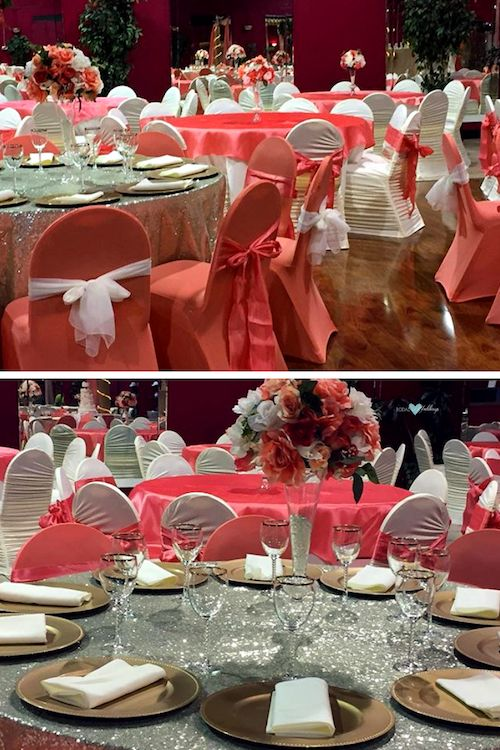 Elegant glam reception in coral and silver.