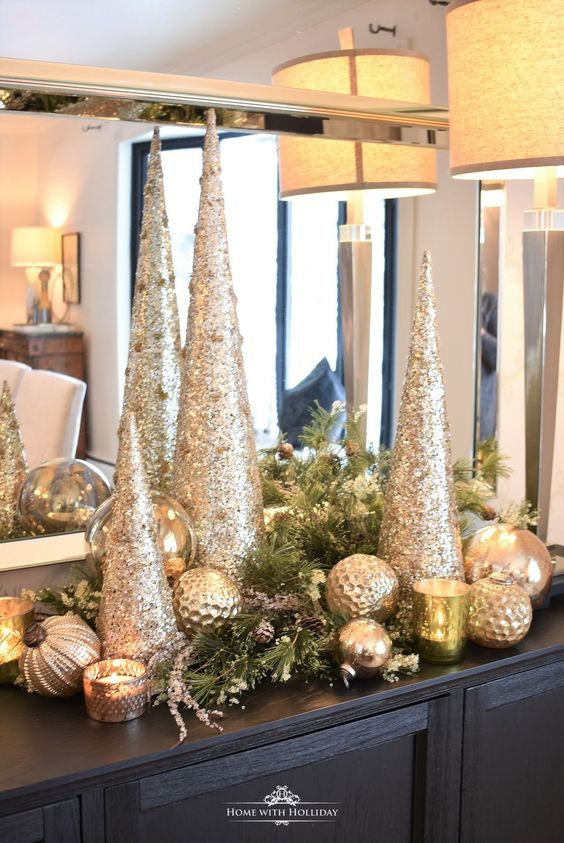Silver and gold glam winter wedding decor.